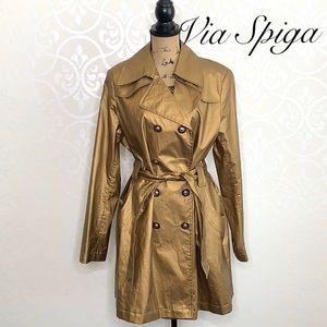 VIA SPIGA METALLIC GOLD TRENCH COAT SIZE XL